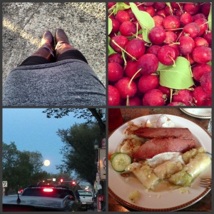 A few of my favourite things in September so far.  Being able to wear boots again!  Aromatic apples, the harvest moon and evidence of another delicious family dinner.